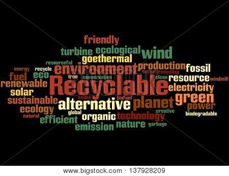 Recyclable, Word Cloud Concept 6