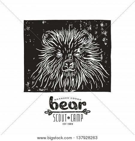 Stock vector linocut with a picture of bear and typographic composition. Black print on white background