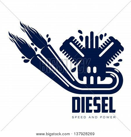 design logo motor gasoline, vector illustration, isolated on a white background. Logoth combustion engine with fire, running on petrol. logo design one isolated internal combustion engine