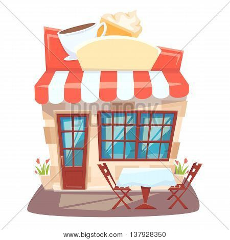 Cafe shop front. Street local cafeteria building. European bar facade. Cafe front cartoon vector illustration. Cafe exterior with outside table and chair