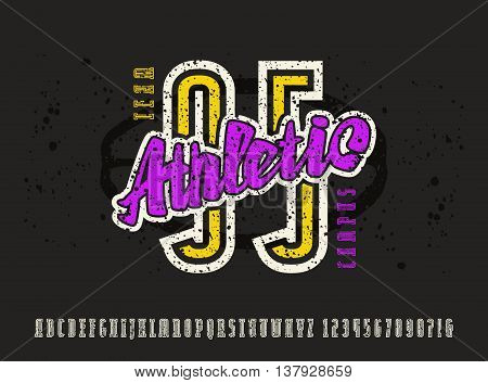 Narrow serif font and numbers with contour. Typeface with shabby texture. Graphic design for t-shirt. Color print on black background