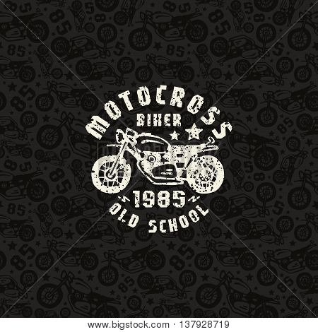Seamless pattern with motorcycles drawings and print for t-shirt. Design for your textiles backgrounds wrapping paper. White print on a dark pattern background