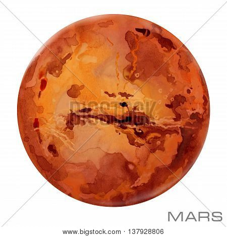 Mars. Mars watercolor background. Mars illustration.  Mars. Mars watercolor background.