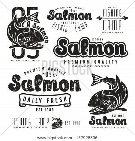 Set of fishing labels in retro style. Black print on white background