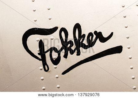 LELYSTAD THE NETHERLANDS - JUNE 9; Very old Fokker company logo on a plane. Fokker is a former dutch airplane manufacturer building planes from 1919 ultil 1996.