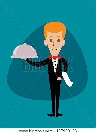 A welcoming stylised waiter character holding a serving platter or silver cloche, vector