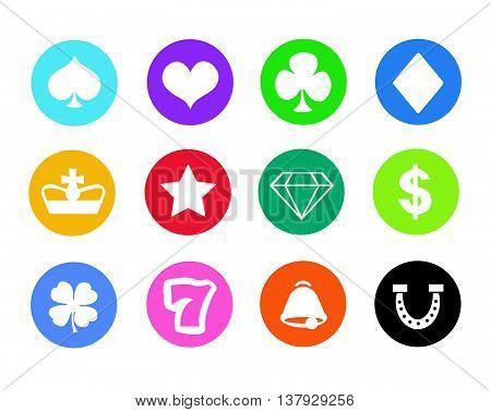 Gambling icons, casino icons, money icons, poker icons
