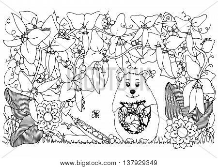 Vector illustration Zen Tangle , hamster and peas. Doodle flowers pattern. Coloring book anti stress for adults. Black and white.