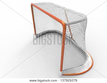 3d illustration of hockey gates. icon for game web. white background isolated. winter sport
