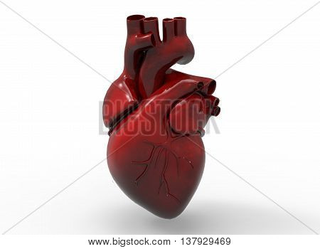 3d illustration of heart. icon for game web. white background isolated. anatomy part of the body.
