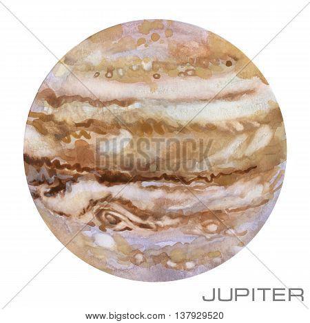 Jupiter. Jupiter watercolor background. Planet Jupiter illustration.