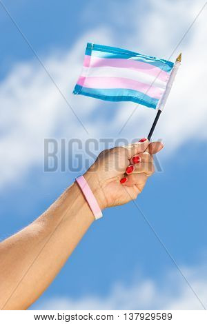 Holding the Transgender flag with colors of pride