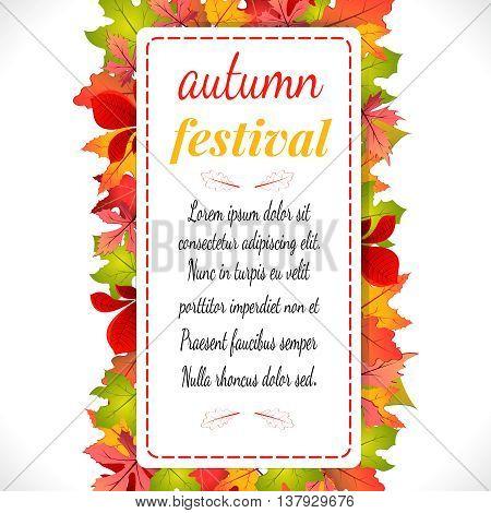 Autumn festival. Vector illustration on white background. Autumn festival Banner - Poster with Leaves. Vector illustration EPS 10.