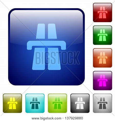 Set of highway color glass rounded square buttons