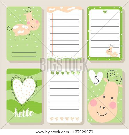 Cute happy cow cards. Cute vector illustration for postcards posters notes to do list Journals Card.