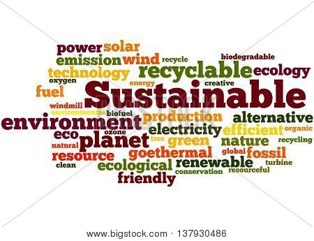 Sustainable, Word Cloud Concept 4