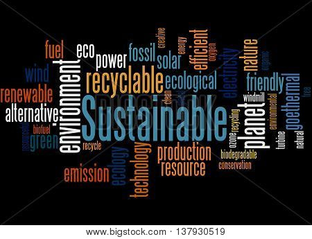 Sustainable, Word Cloud Concept 6