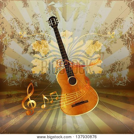 Vector illustration of music background realistic acoustic guitar woven by musical notes.
