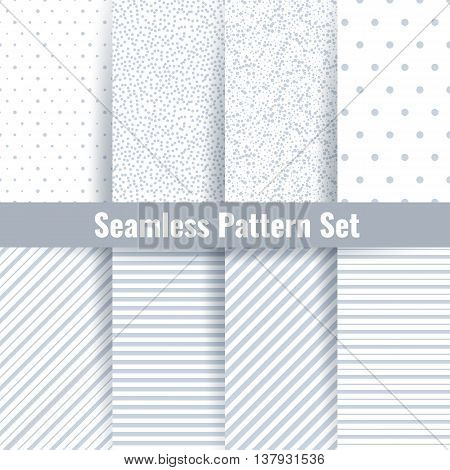Seamless pattern vector set. Abstract geometric subtle grey seamless background set. Patterns with circles, lines and polka dots ornament