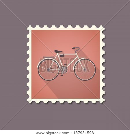 Retro style bicycle flat stamp with shadow. Vector illustration.