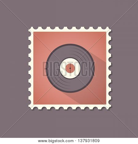 Vinyl flat stamp with shadow. Retro style. Vector illustration.