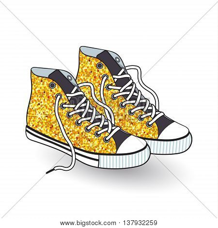 Pair of sneakers with gold sequins textile isolated on white background. Element for your design. Vector illustration.