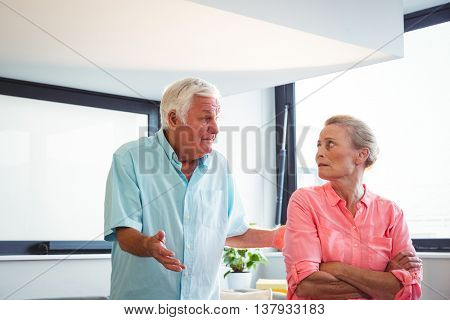 Senior couple having an argument in a retirement home