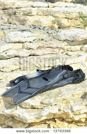 swimming fins on rocks