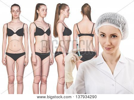 Female doctor and woman with arrows on her body isolated on white background. Plastic surgery concept.