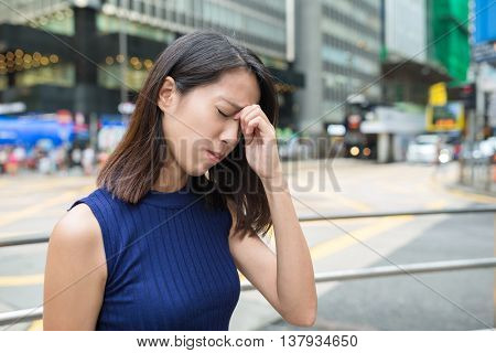 Woman getting sick at outdoor