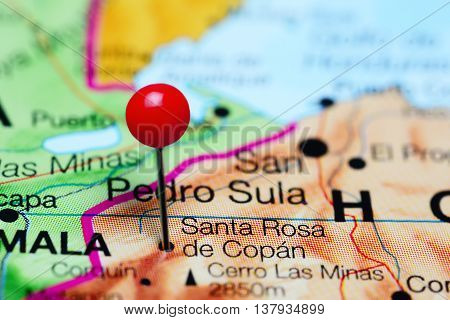 Santa Rosa de Copan pinned on a map of Honduras