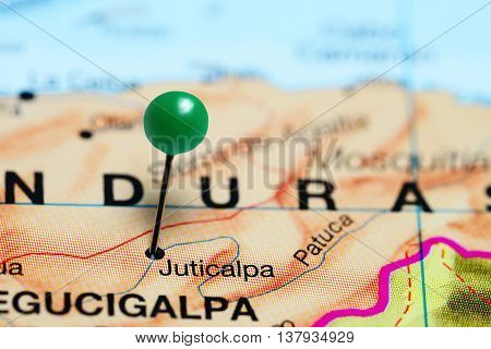 Juticalpa pinned on a map of Honduras