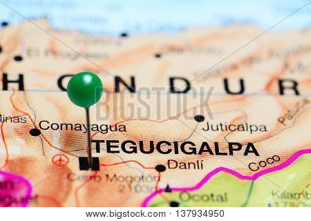 Tegucigalpa pinned on a map of Honduras