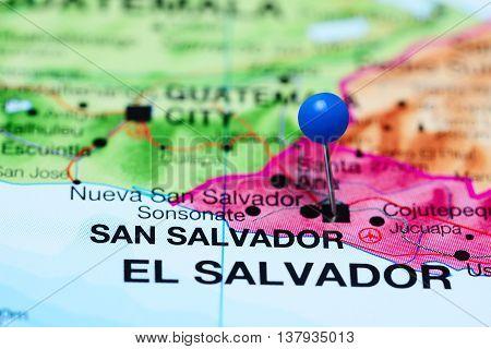 San Salvador pinned on a map of El Salvador