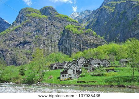 traditional Village of Roseto in Val Bavona,Ticino Canton,Switzerland