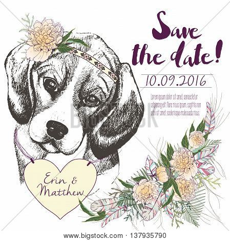 Vector set of wedding invitation. Save the date card. Trendy style of 2016 summer boho chic.Beagle dog portrait wearing the flower headpiece and heart coulomb. Decorated with large flower boucket