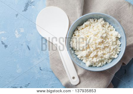 Dairy products on stone table. Curd cheese. Top view with copy space