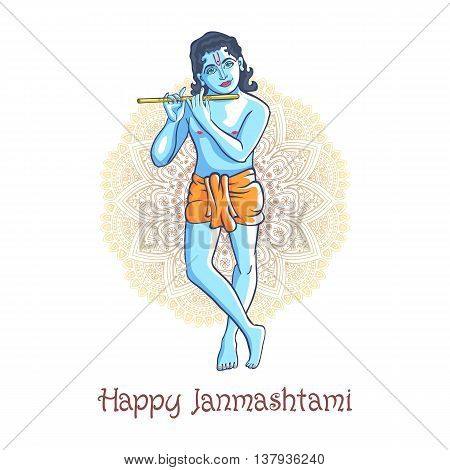 cartoon Krishna with a flute. Greeting card for Krishna birthday. Vector illustration isolated on a white background. Indian mandala background art