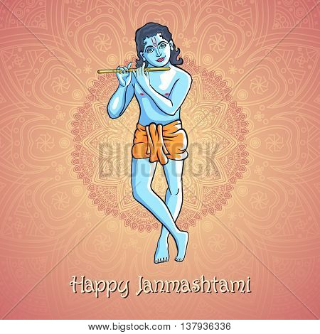 Krishna Playing The Flute. Vector Illustration For The Indian Festival Of Janamashtmi Celebration Ag