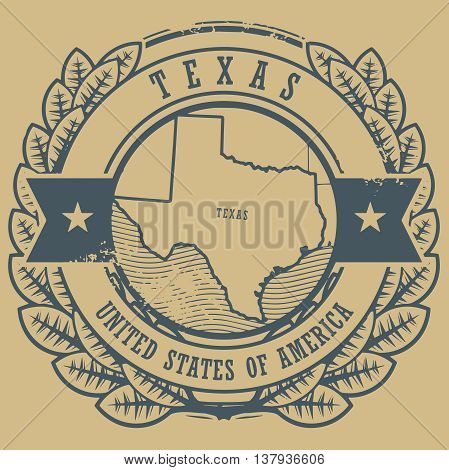 Grunge rubber stamp with name and map of Texas, USA, vector illustration