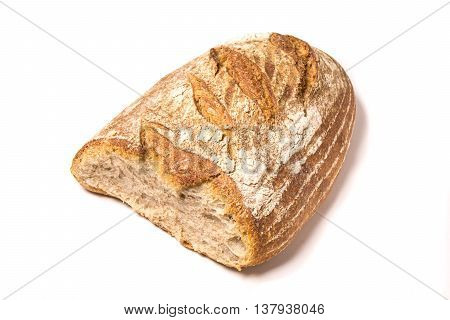 Loaf of fresh baked Organic whole wheat bread isolated on white