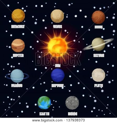 Solar system space planets sun. Astronomical pictograms icons set