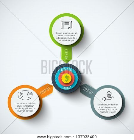 Vector circle infographic with target. Template for cycle diagram, graph, presentation and round chart. Business concept with 3 options, parts, steps or processes. Data visualization.