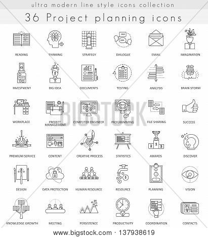 Vector Project planning strategy ultra modern outline line icons for web and apps