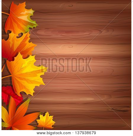 Abstract background with autumn leaves. Vector illustration. Cartoon style. Yellow and red leaves arranged on the left side on a wood base. Template for presentation.