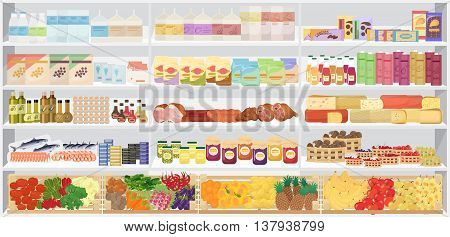 Store supermarket shelves with products. Vector illustration