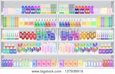 Store supermarket shelves shelfs with household chemicals