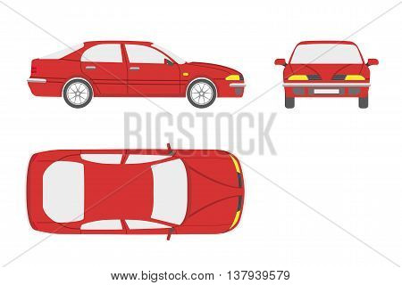 Red car on a white background . Three views : front side top. Vector illustration