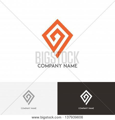 Address logo - pointer with labyrinth on the white background