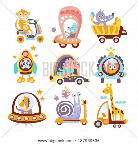 Animals And Transportation Fantasy Drawings Set Of Childish Style Funny Flat Drawings On White Background